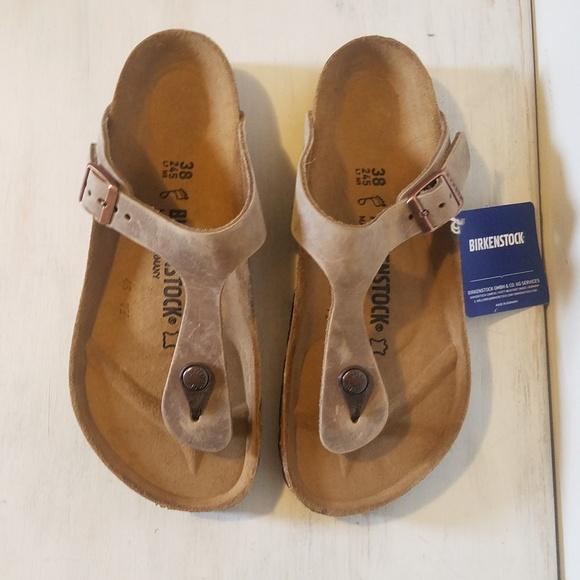 d6ec96b706f7 Birkenstock 38 7 8 gizeh tobacco leather sandals